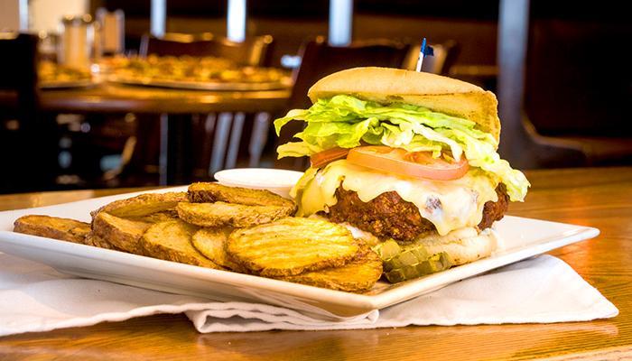 Adagio's Pizza Factory burger and potatos