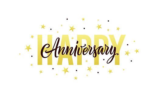 Happy anniversary. Gold, white, black design template for birthday or wedding invitation, party decoration. Greeting card, banner with happy anniversary text, stars and confetti. Vector illustration