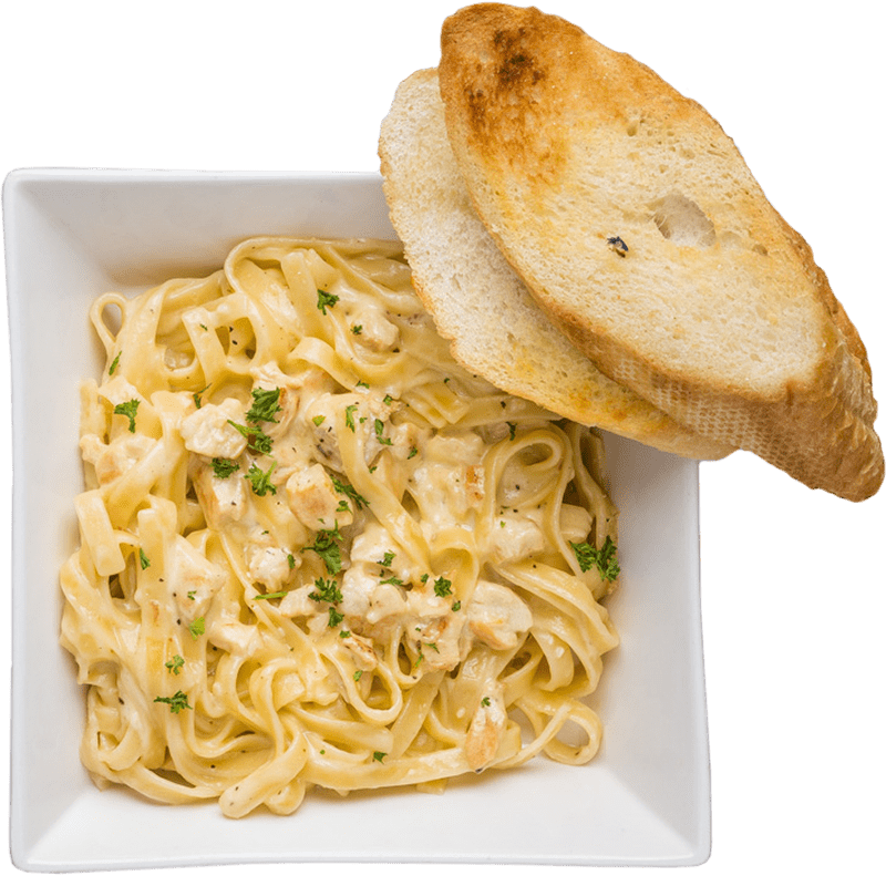 Adagio's Pizza Factory pasta disch with garlic bread